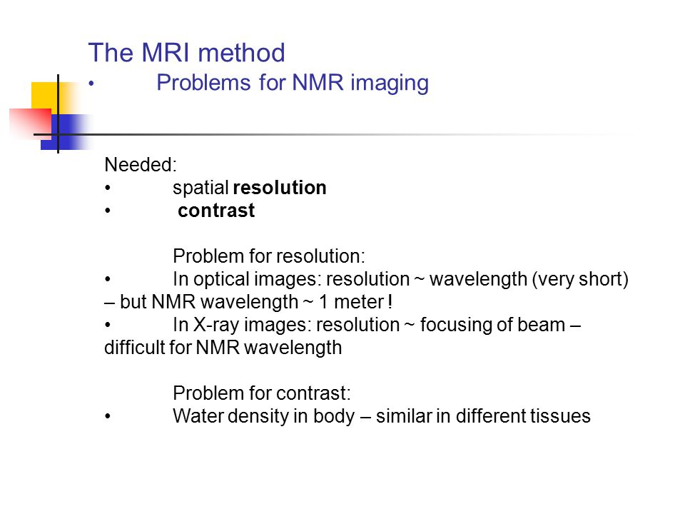 The MRI method Problems for NMR imaging Needed: spatial resolution