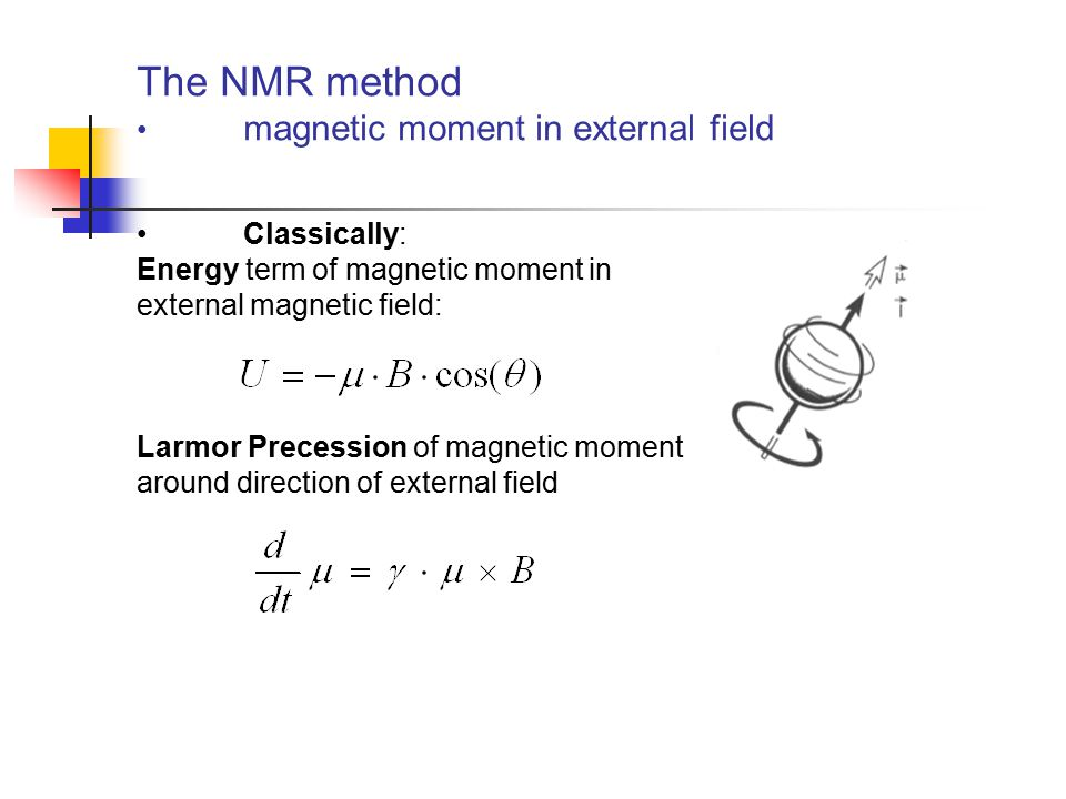 The NMR method magnetic moment in external field Classically: