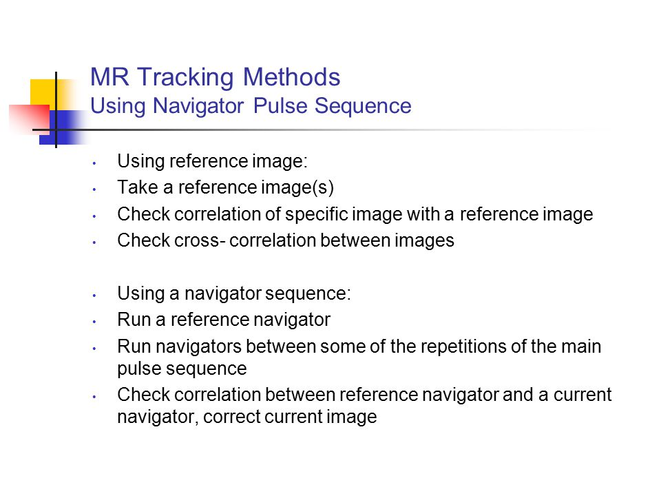 MR Tracking Methods Using Navigator Pulse Sequence