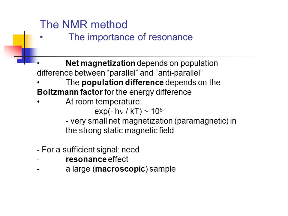 The NMR method The importance of resonance