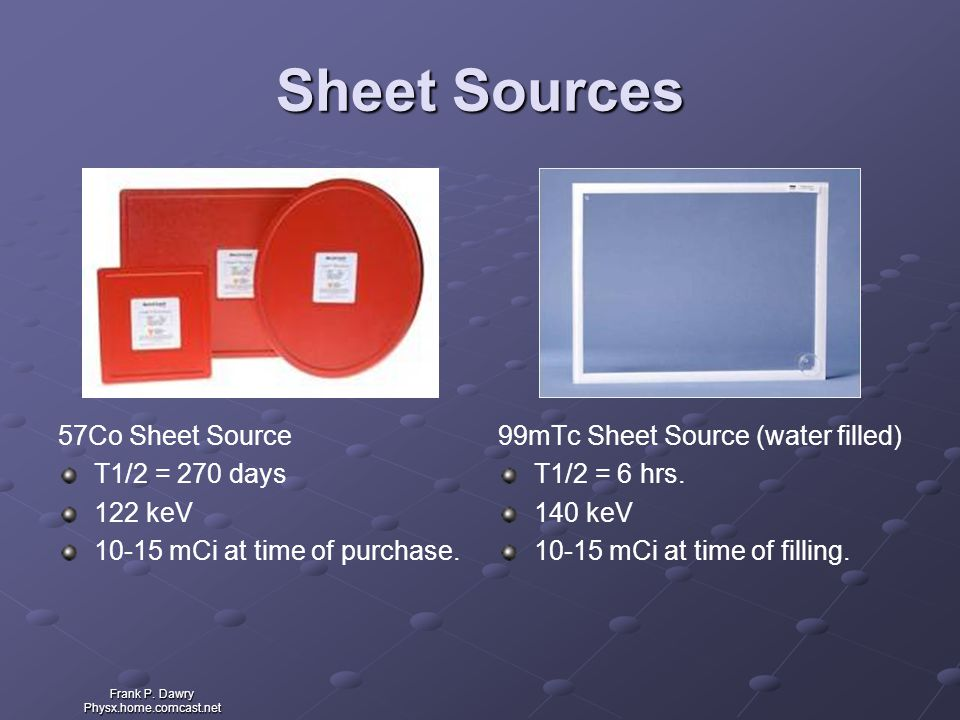 Sheet Sources 57Co Sheet Source T1/2 = 270 days 122 keV
