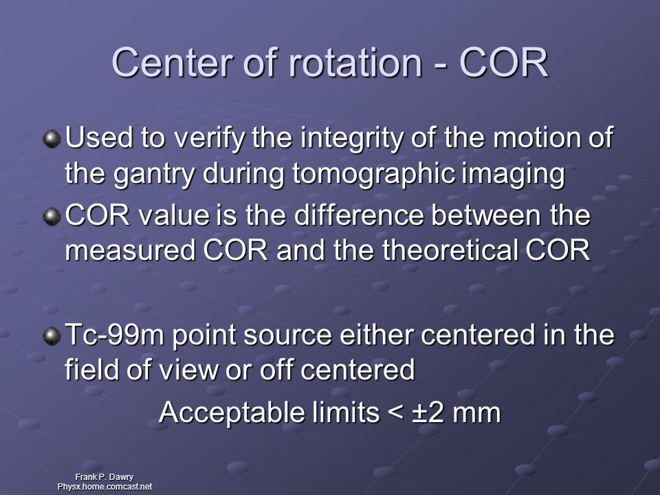 Center of rotation - COR