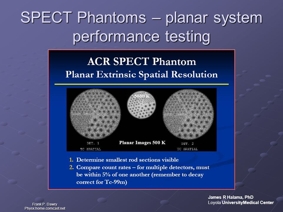 SPECT Phantoms – planar system performance testing