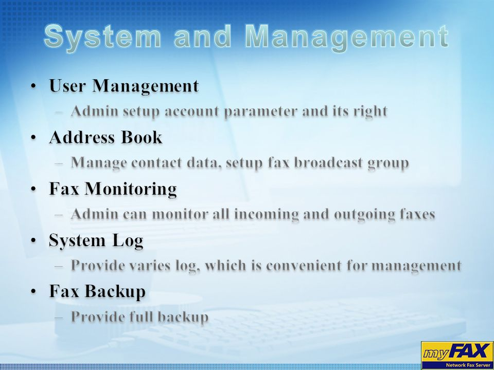 System and Management User Management Address Book Fax Monitoring