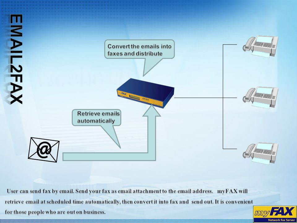 Email2Fax Convert the emails into faxes and distribute