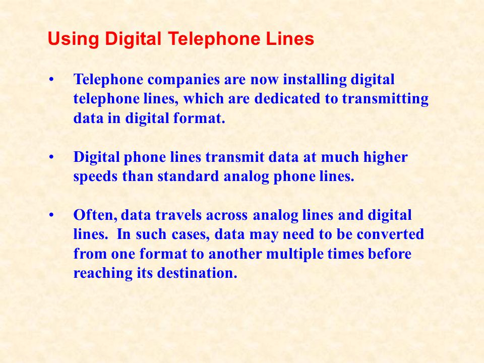 Using Digital Telephone Lines