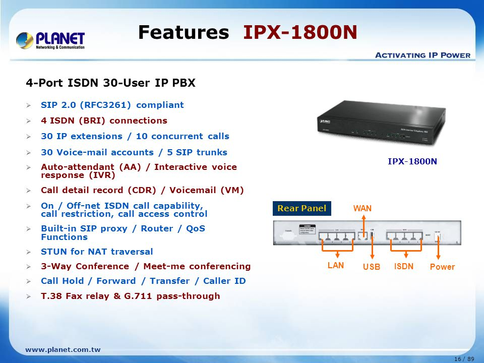 Features IPX-1800N 4-Port ISDN 30-User IP PBX