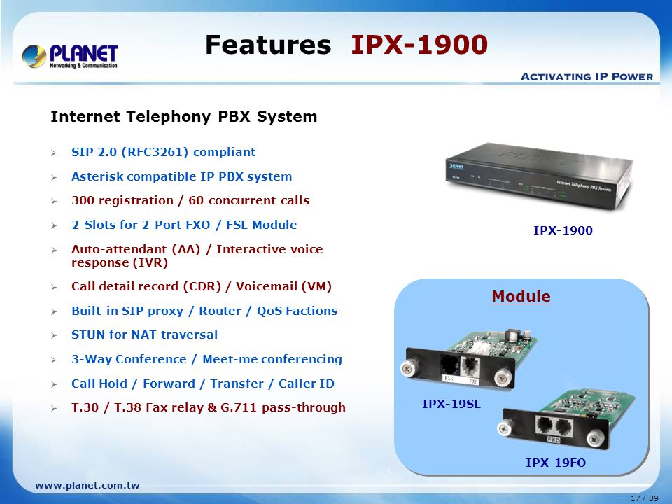 Features IPX-1900 Internet Telephony PBX System Module