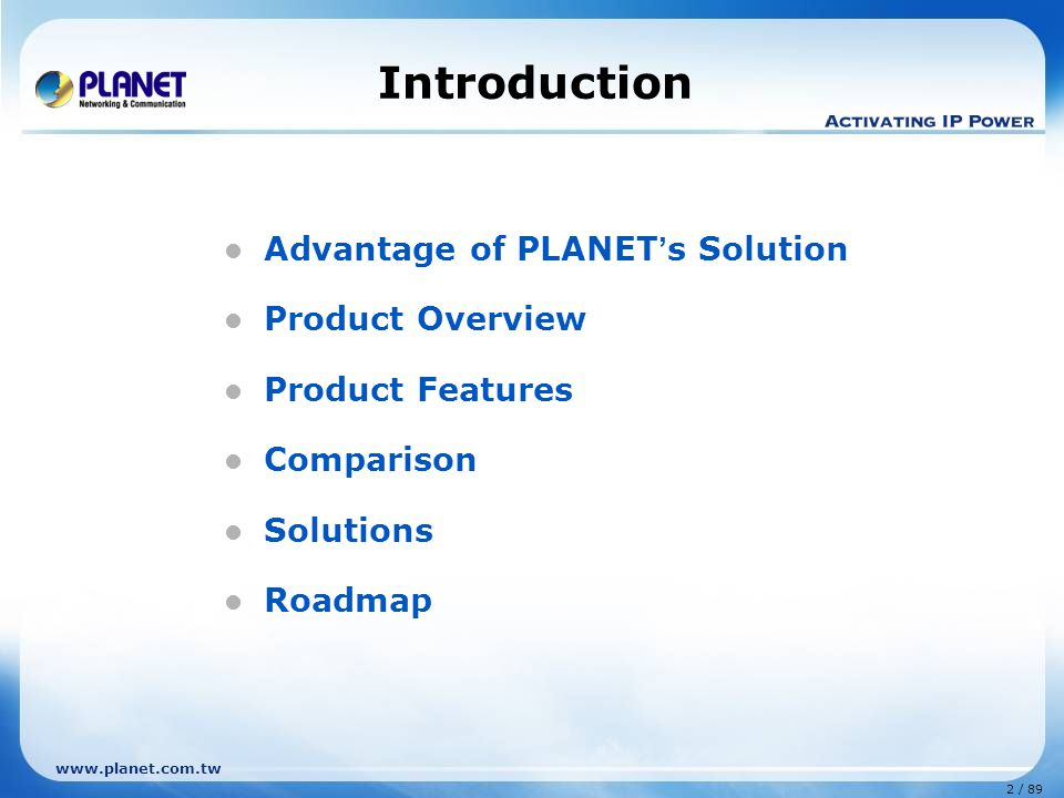 Introduction Advantage of PLANET's Solution Product Overview