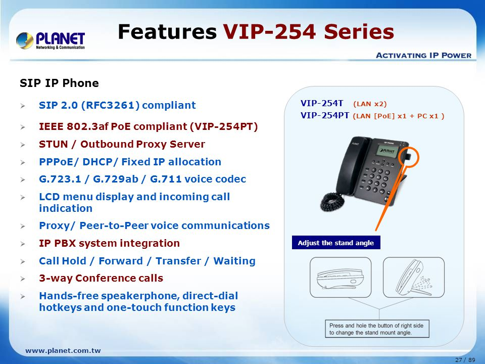 Features VIP-254 Series SIP IP Phone SIP 2.0 (RFC3261) compliant