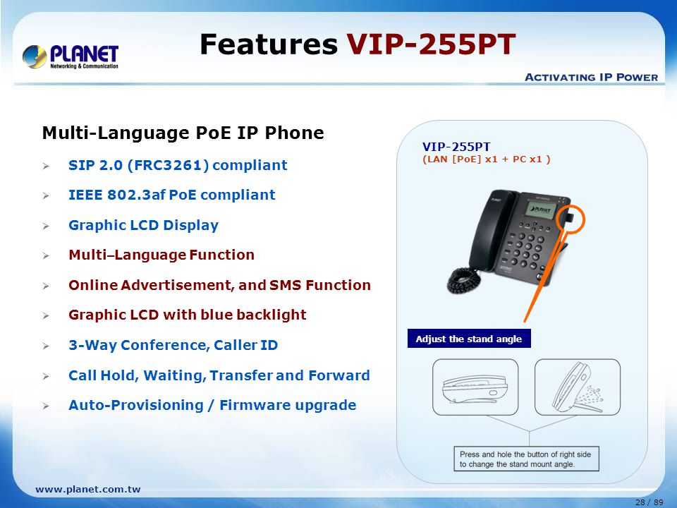 Features VIP-255PT Multi-Language PoE IP Phone