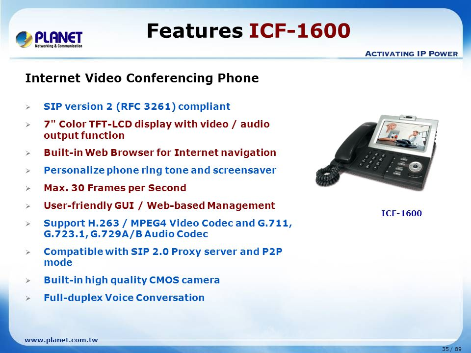Features ICF-1600 Internet Video Conferencing Phone