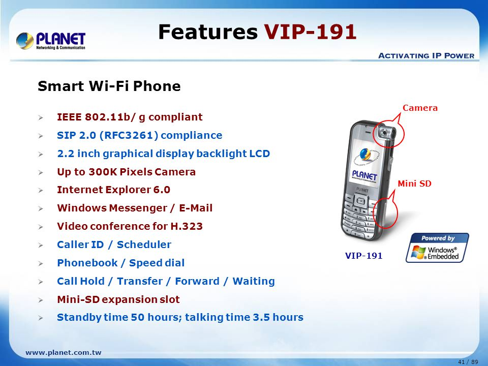 Features VIP-191 Smart Wi-Fi Phone IEEE 802.11b/ g compliant