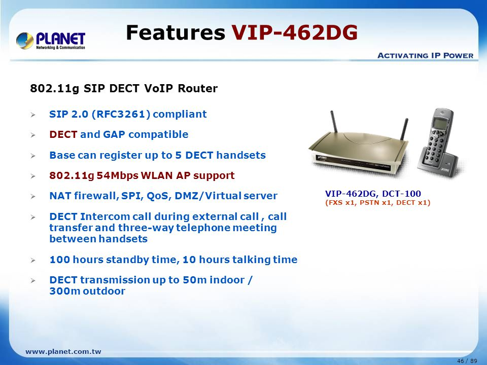 Features VIP-462DG 802.11g SIP DECT VoIP Router