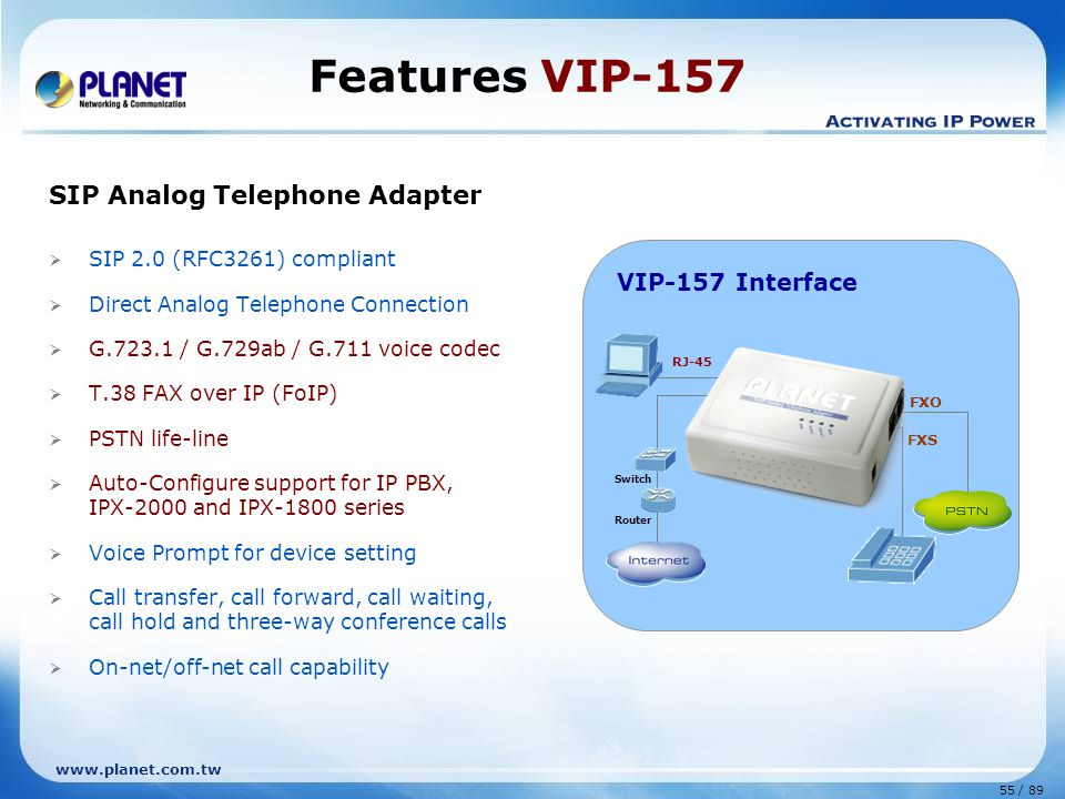Features VIP-157 SIP Analog Telephone Adapter VIP-157 Interface