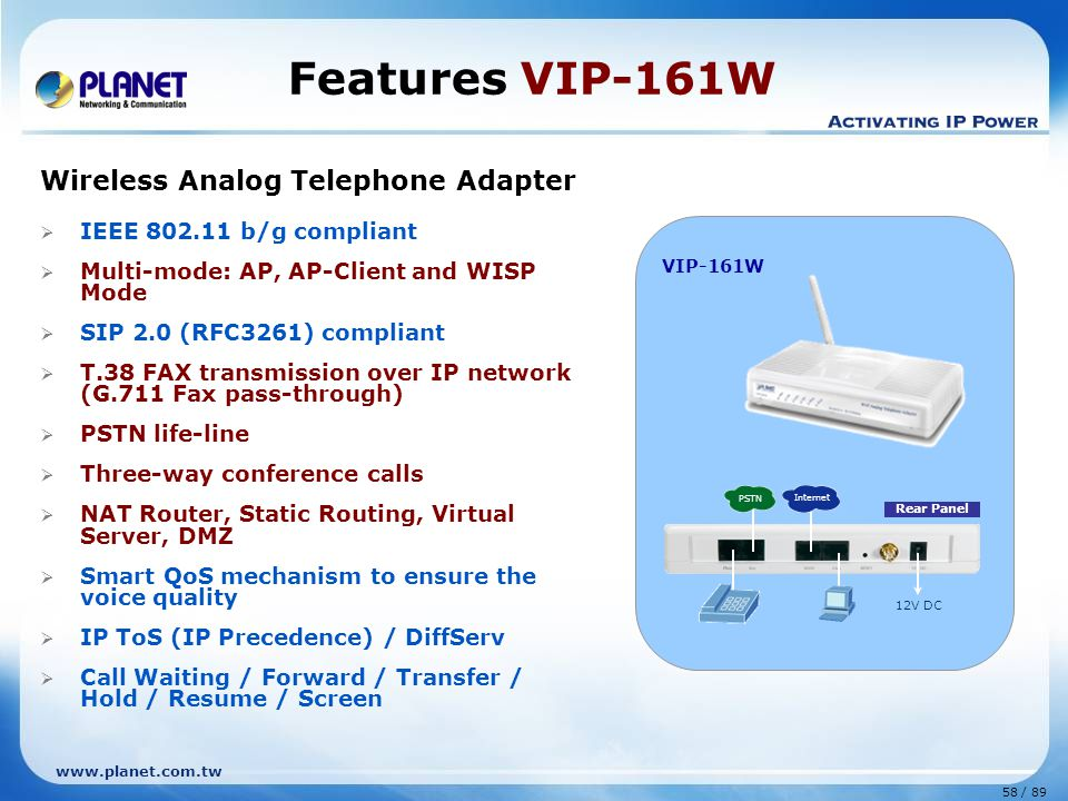 Features VIP-161W Wireless Analog Telephone Adapter