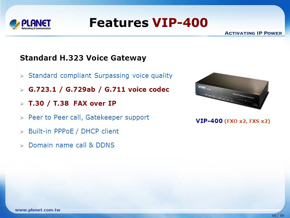 Features VIP-400 Standard H.323 Voice Gateway