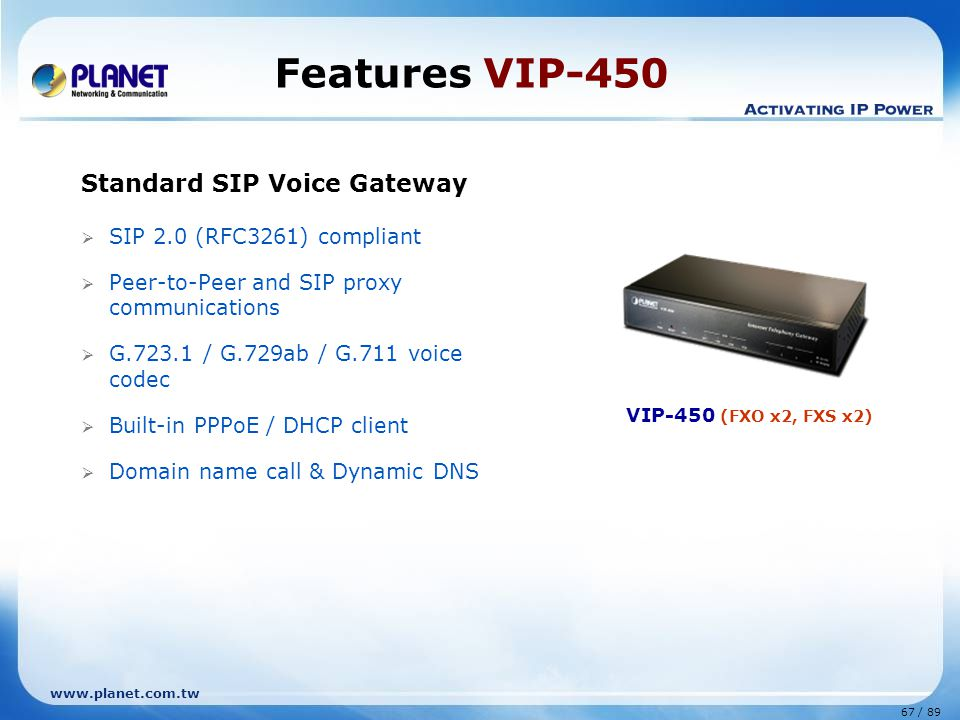 Features VIP-450 Standard SIP Voice Gateway