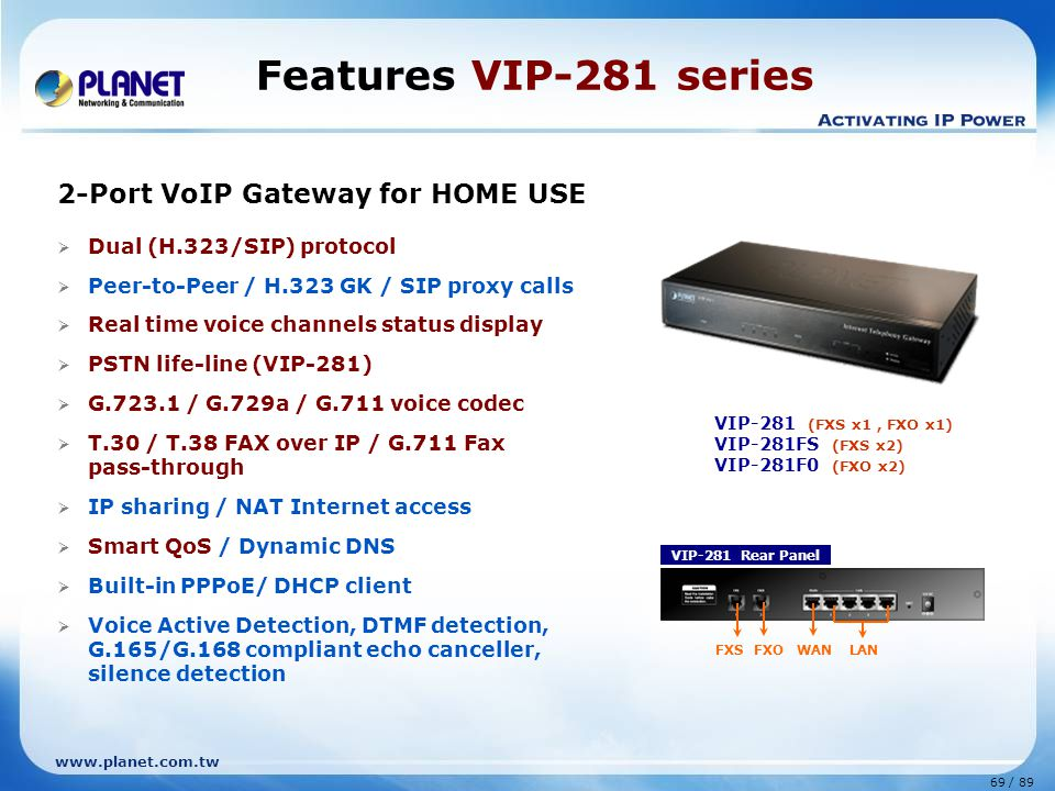 Features VIP-281 series 2-Port VoIP Gateway for HOME USE