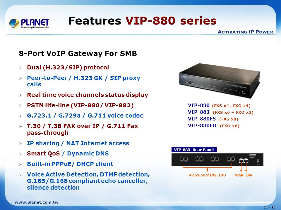Features VIP-880 series 8-Port VoIP Gateway For SMB
