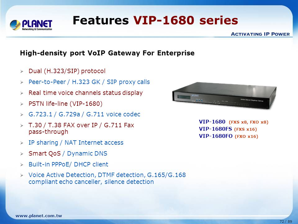 Features VIP-1680 series High-density port VoIP Gateway For Enterprise