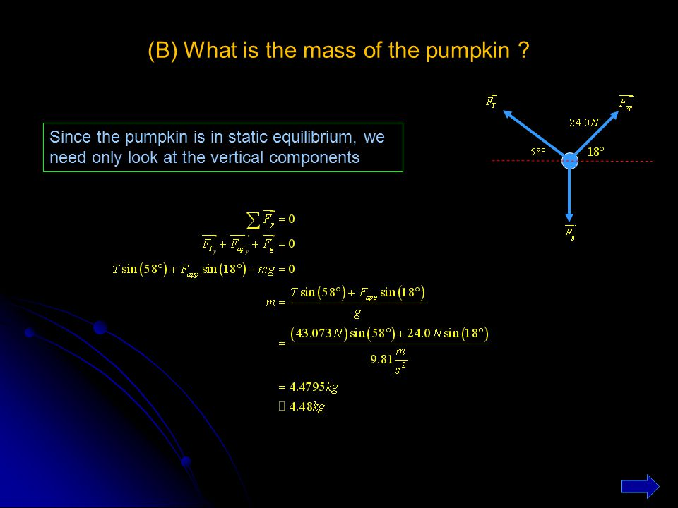 (B) What is the mass of the pumpkin