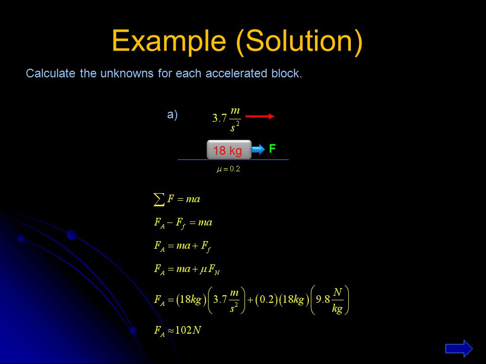 Example (Solution) Calculate the unknowns for each accelerated block.