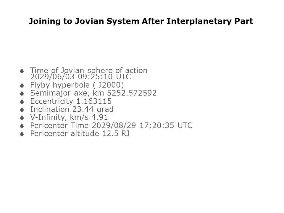 Joining to Jovian System After Interplanetary Part
