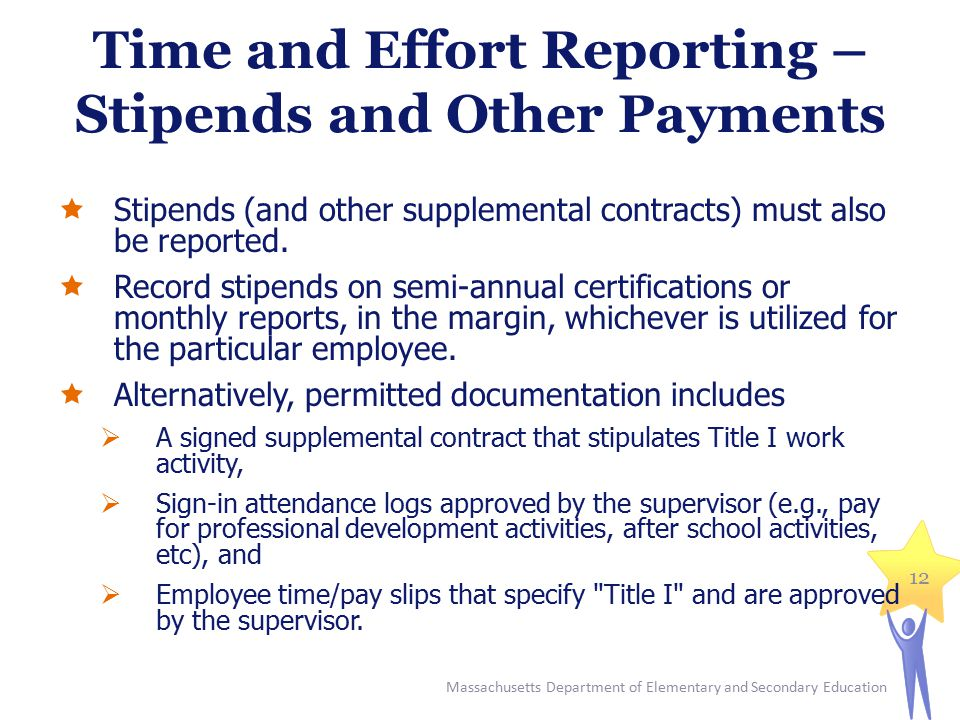 Time and Effort Reporting – Stipends and Other Payments