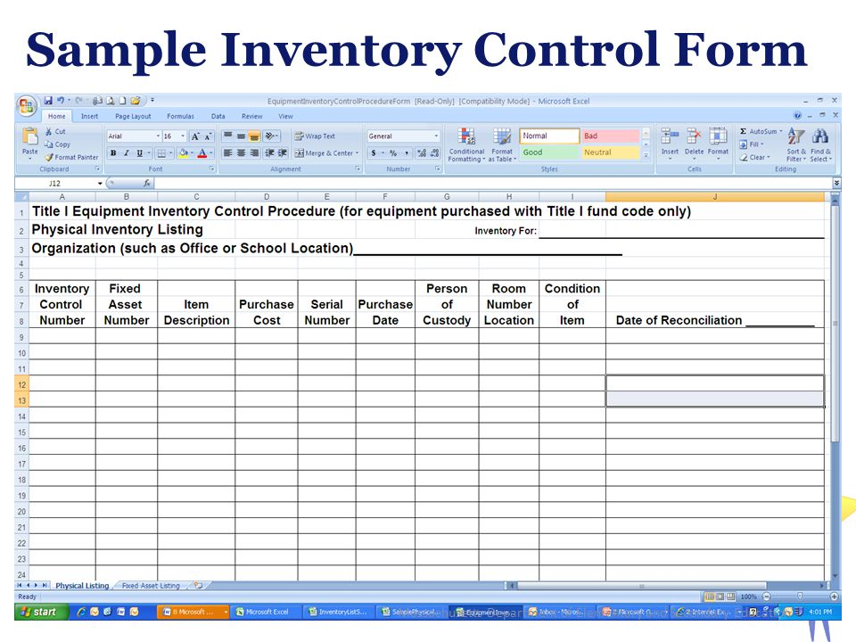 Sample Inventory Control Form