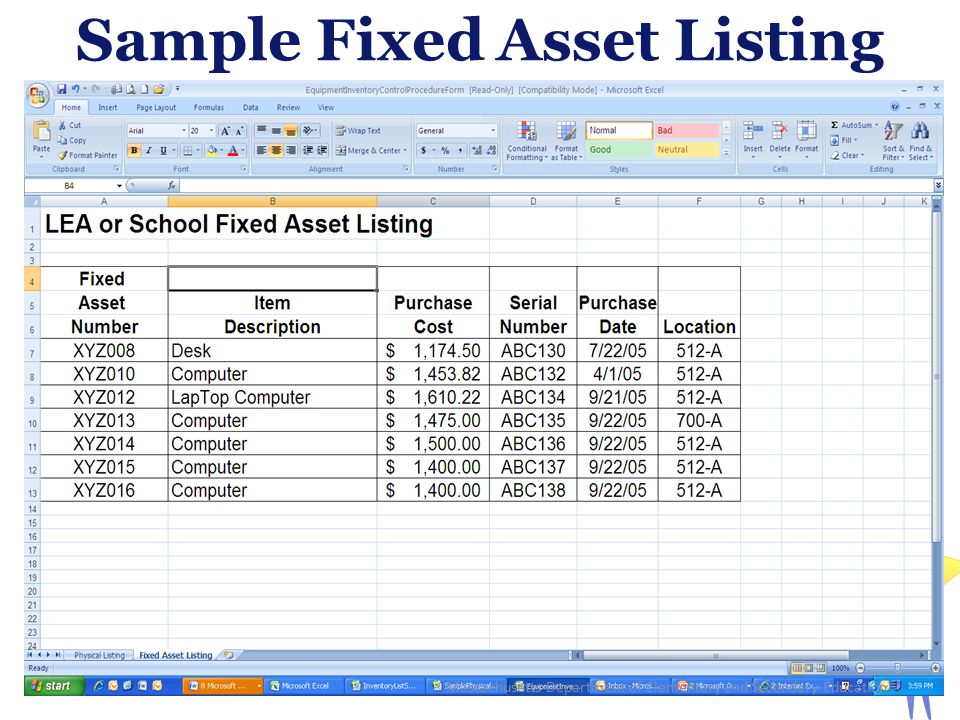 Sample Fixed Asset Listing