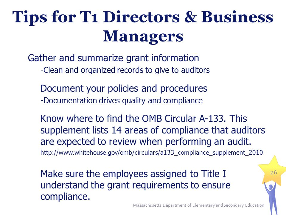 Tips for T1 Directors & Business Managers