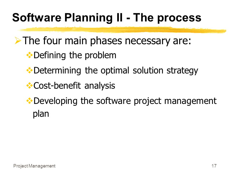 Software Planning II - The process