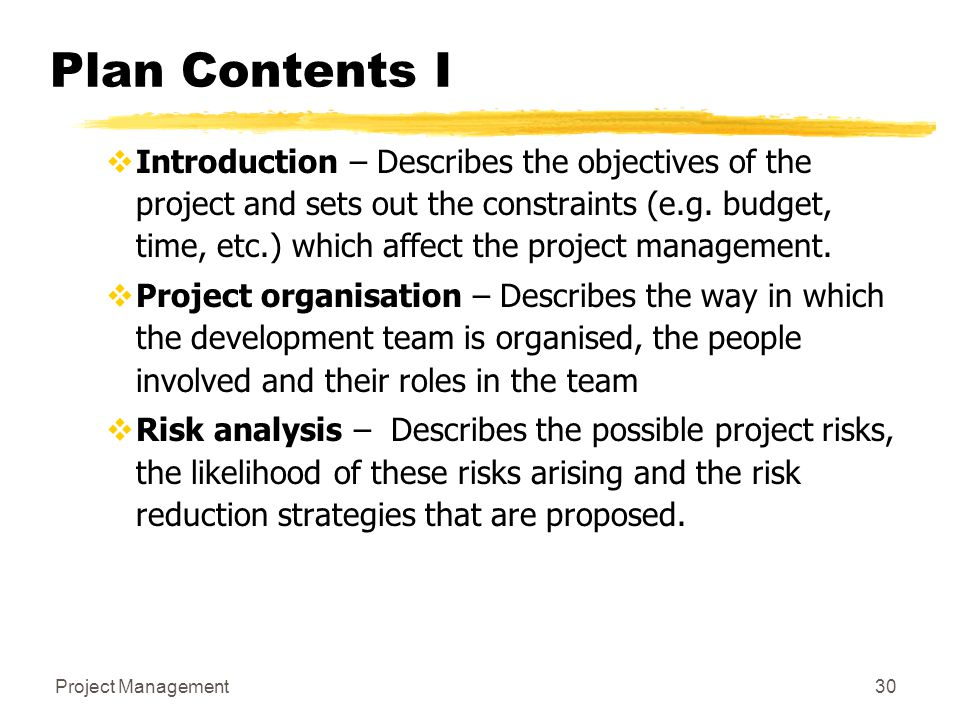 Plan Contents I