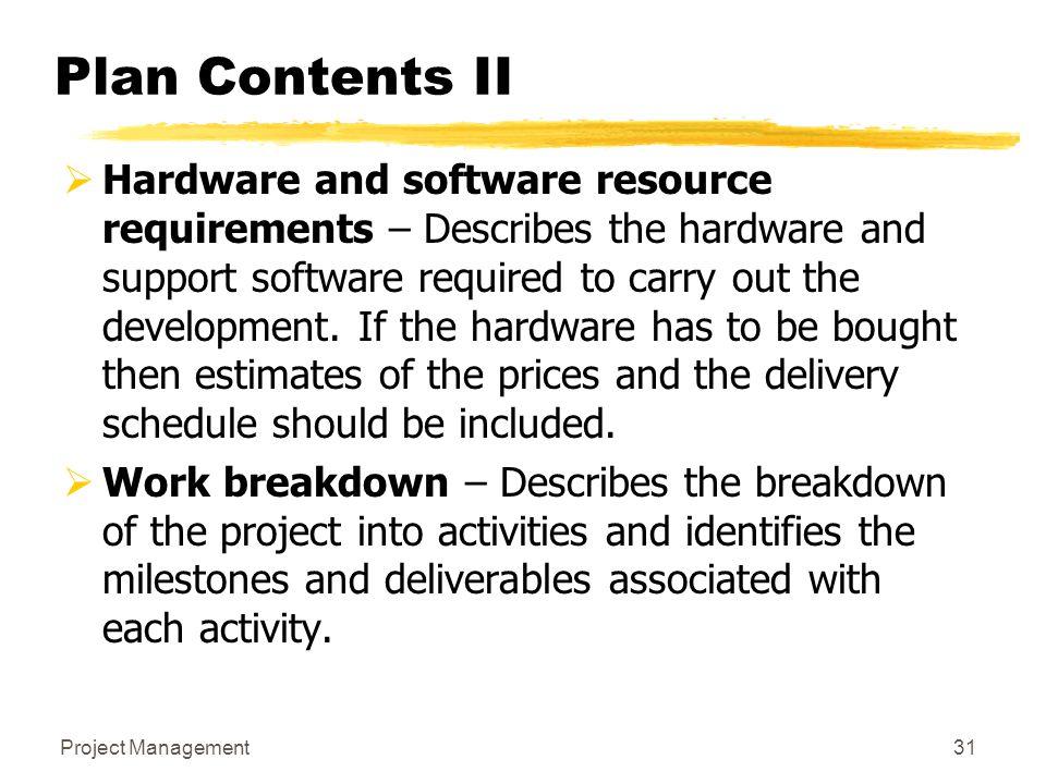 Plan Contents II