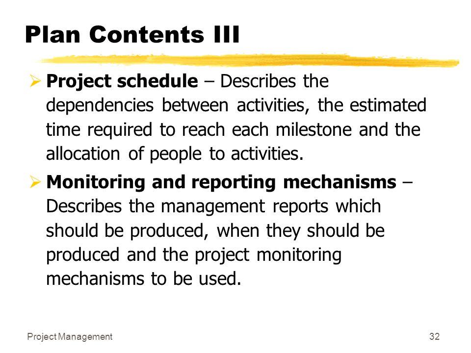 Plan Contents III