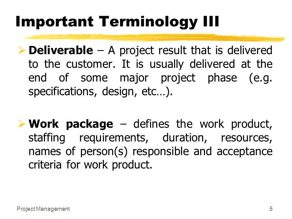 Important Terminology III