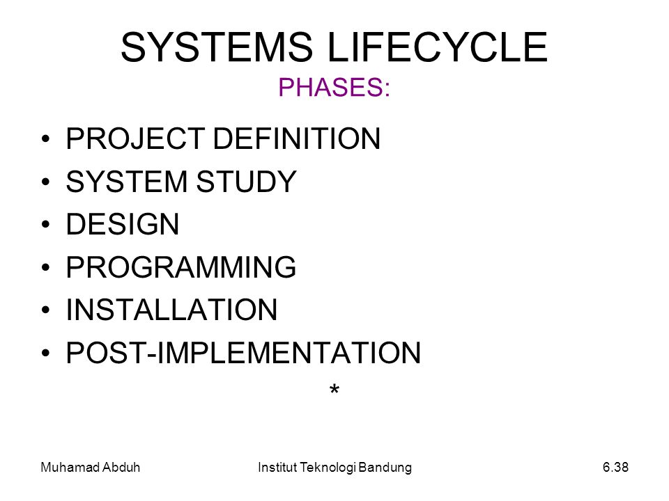 SYSTEMS LIFECYCLE PHASES: