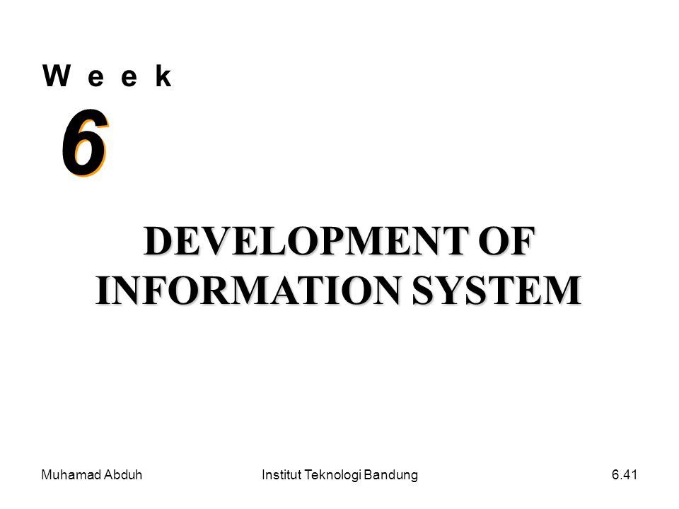 DEVELOPMENT OF INFORMATION SYSTEM