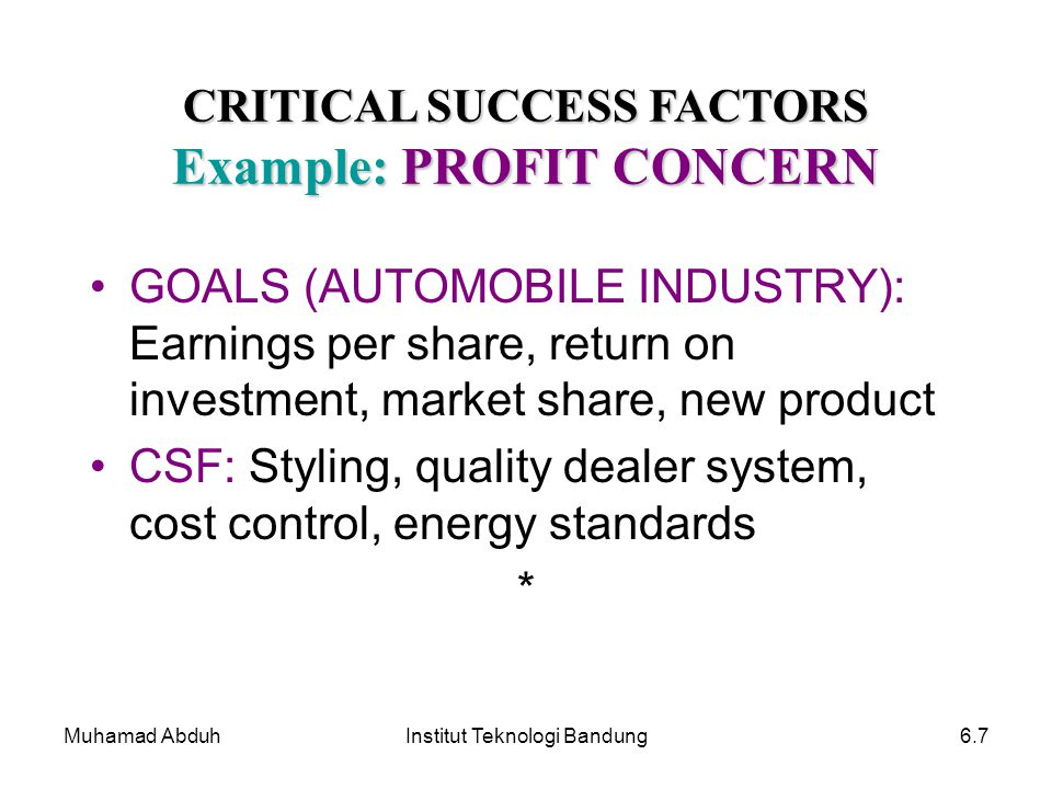 CRITICAL SUCCESS FACTORS Example: PROFIT CONCERN