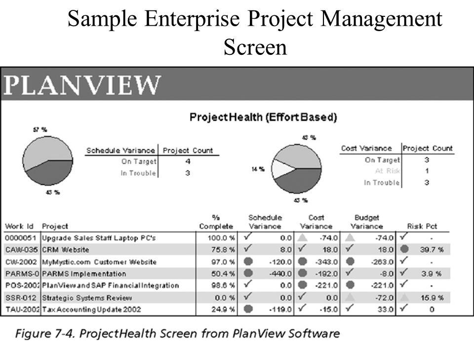 Sample Enterprise Project Management Screen