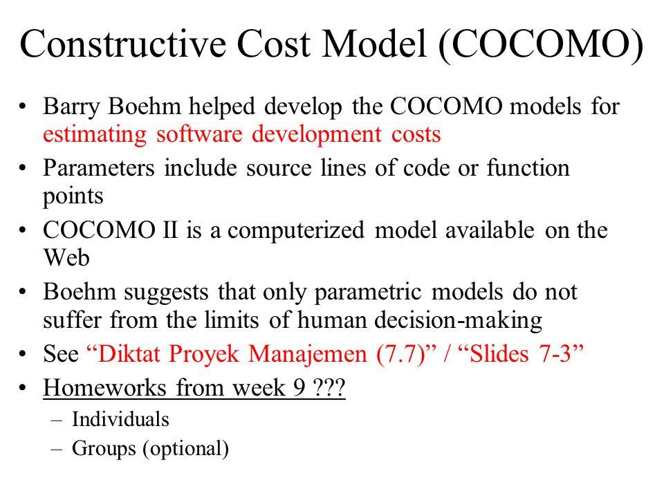 Constructive Cost Model (COCOMO)