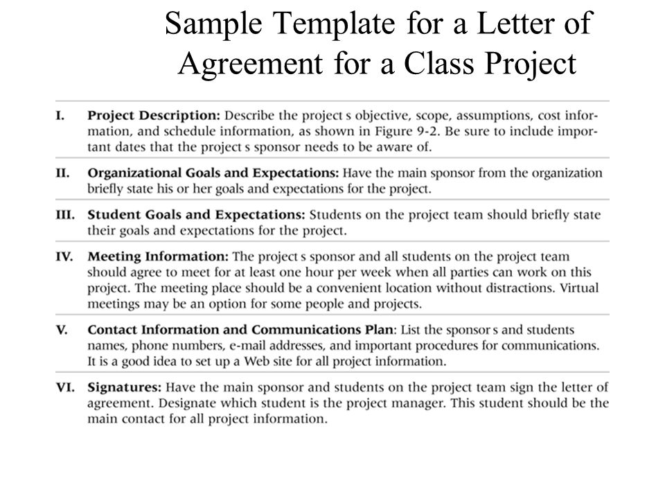 Sample Template for a Letter of Agreement for a Class Project