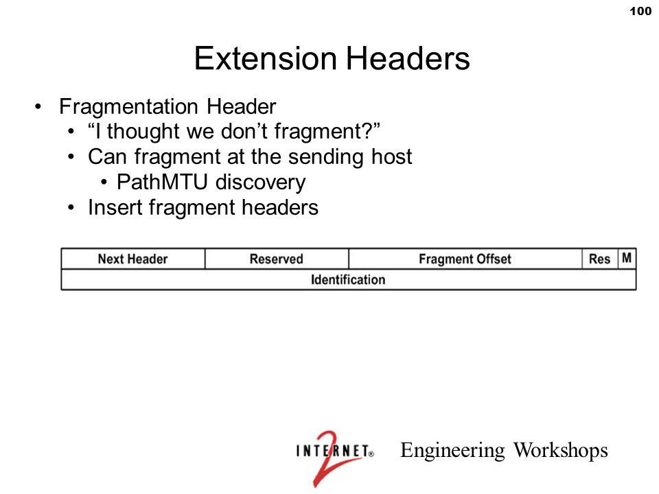 Extension Headers Fragmentation Header I thought we don't fragment
