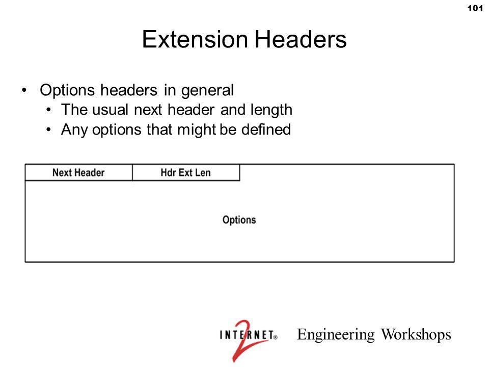 Extension Headers Options headers in general