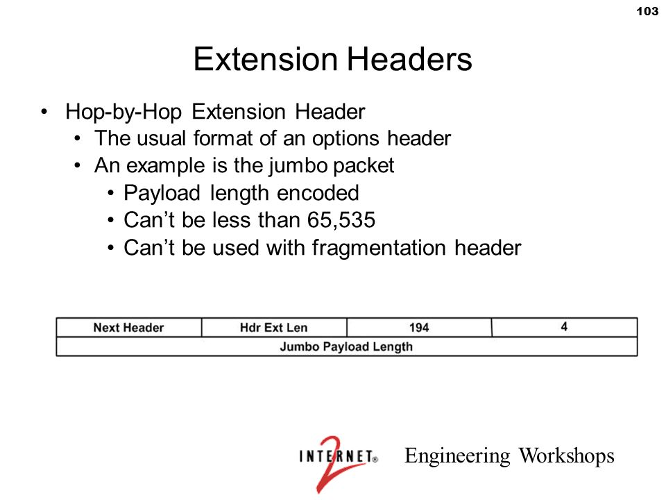 Extension Headers Hop-by-Hop Extension Header Payload length encoded