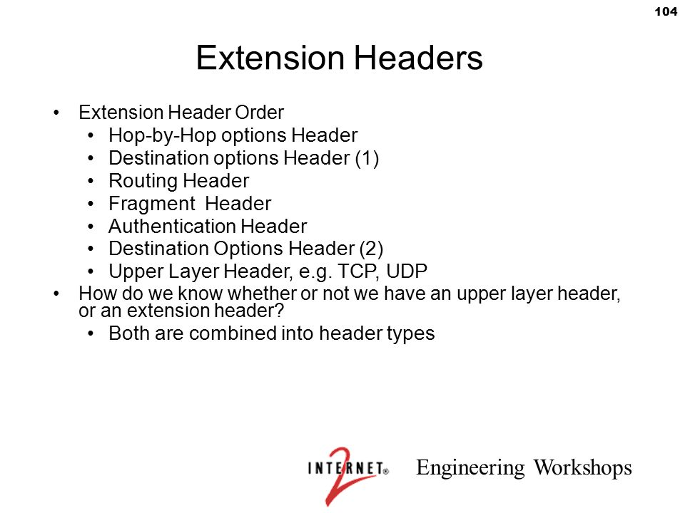 Extension Headers Hop-by-Hop options Header