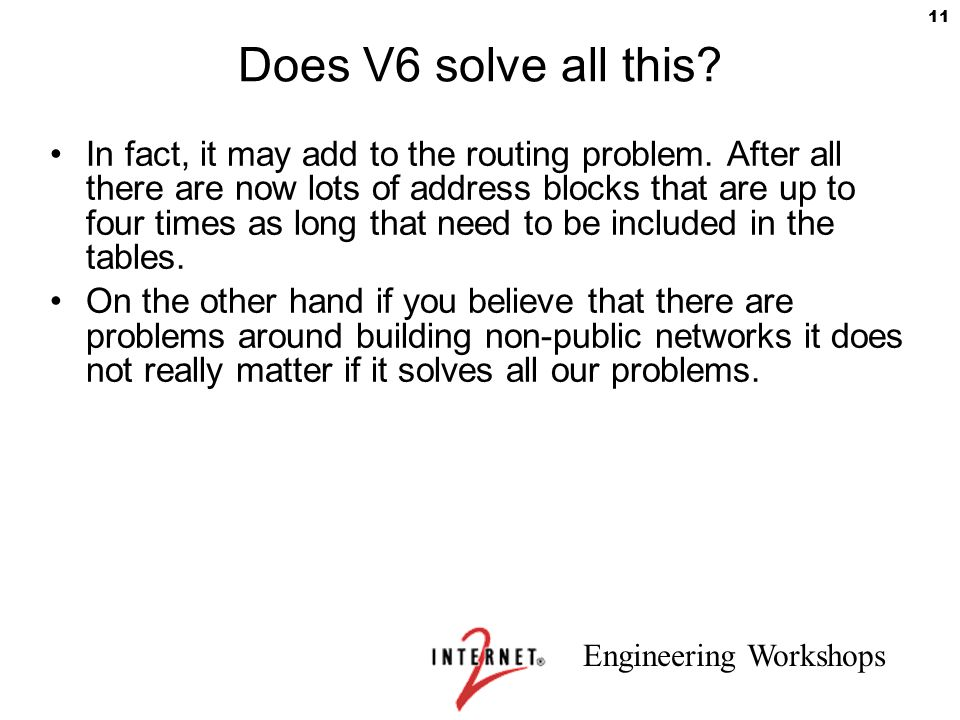 Does V6 solve all this