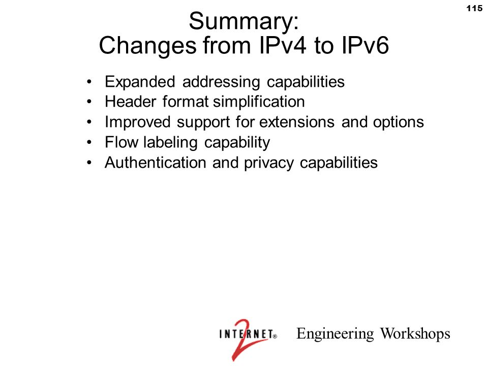 Summary: Changes from IPv4 to IPv6