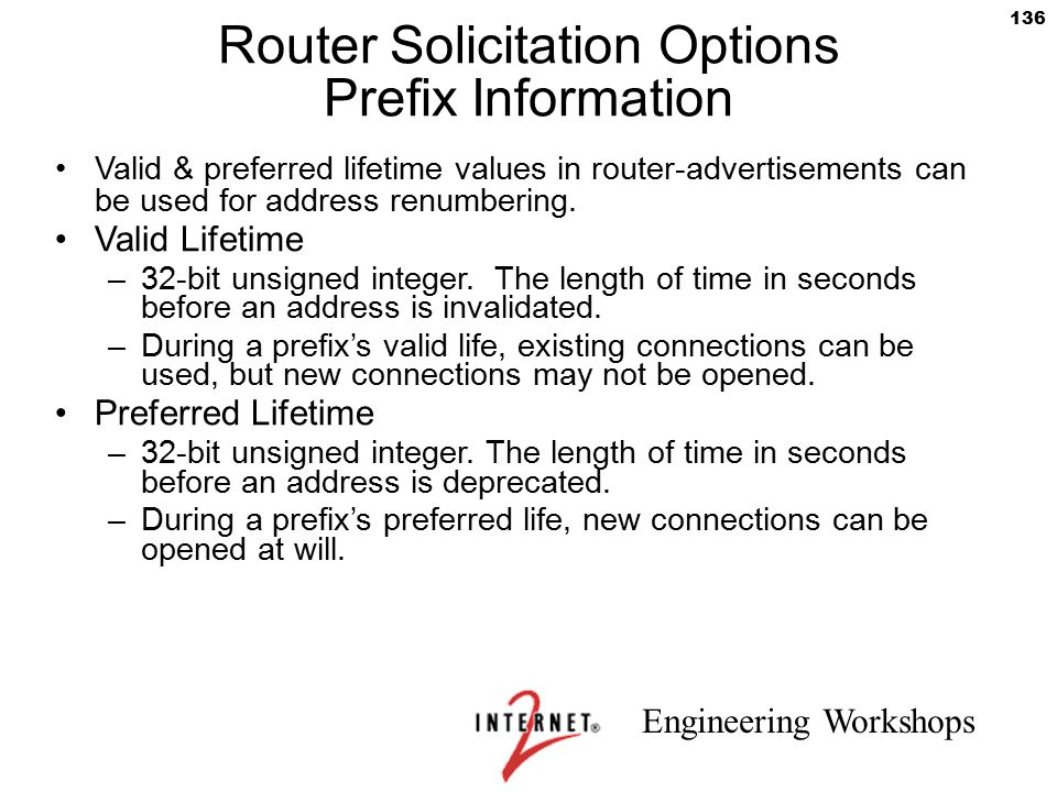 Router Solicitation Options Prefix Information